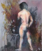 Nude (Johnny), watercolor on canvas